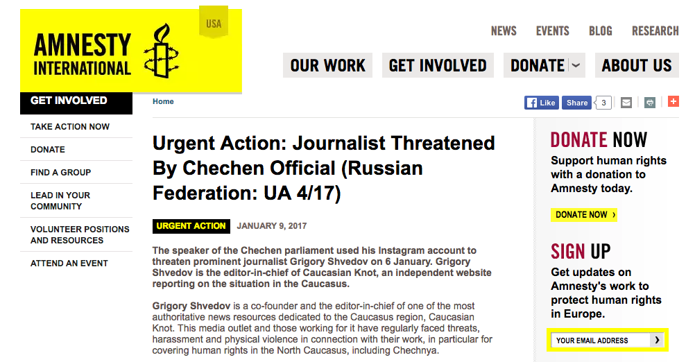 Скриншот сайта Amnesty International USA: Urgent Action: Journalist Threatened By Chechen Official
